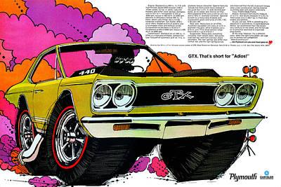 Roadrunner Digital Art - 1968 Plymouth Gtx - Adios by Digital Repro Depot