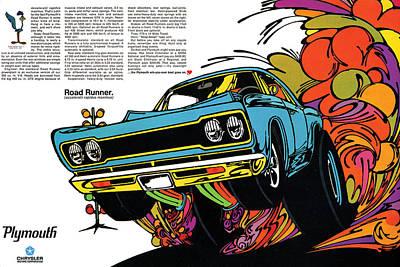 Roadrunner Digital Art - 1968 Plymouth Road Runner by Digital Repro Depot