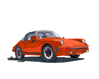 Painting - Terific 1968 Porsche 911 Targa by Jack Pumphrey
