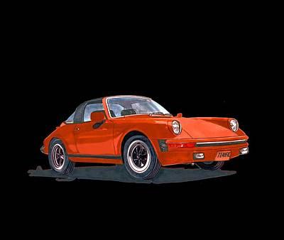 Painting - 1968 Porsche 911 Targa Tee by Jack Pumphrey
