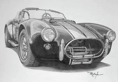Drawing - 1968 Shelby Cobra by Dan Menta