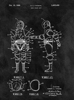 Interstellar Space Drawing - 1968 Space Suit by Dan Sproul