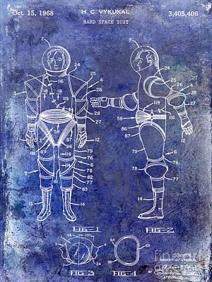 1968 Space Suit Patent Blue Art Print
