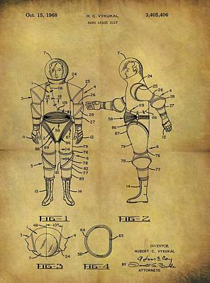 Interstellar Space Drawing - 1968 Space Suit Patent by Dan Sproul