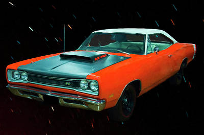 Painting - 1969 1/2 Dodge Coronet A12 Superbee Digital Oil by Chris Flees