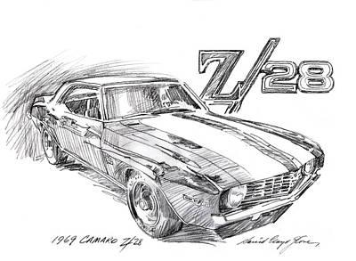 Painting - 1969 Camaro Z/28  by David Lloyd Glover