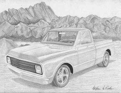 1969 Chevrolet C-10 Pickup Truck Art Print Original