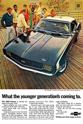Motown Digital Art - 1969 Chevrolet Camaro Ss by Digital Repro Depot