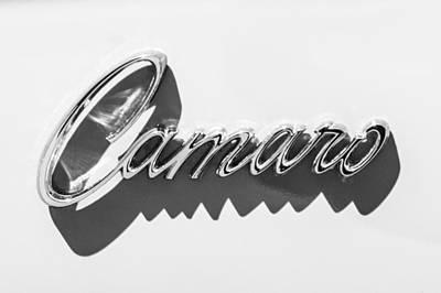 Photograph - 1969 Chevrolet Camaro Z-28 302 Emblem -0152bw by Jill Reger