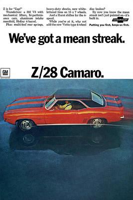 Indy Car Digital Art - 1969 Chevrolet Camaro Z/28 by Digital Repro Depot