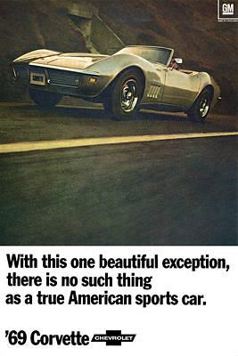 Motown Digital Art - 1969 Chevrolet Corvette by Digital Repro Depot