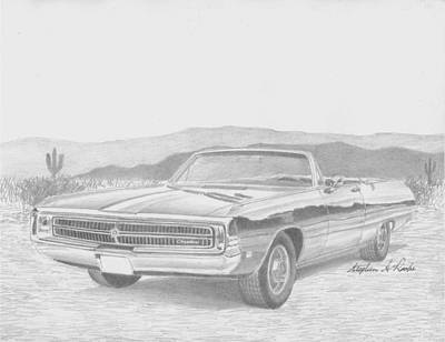 Automotive Drawing - 1969 Chrysler 300 Convertible Classic Car Art Print by Stephen Rooks