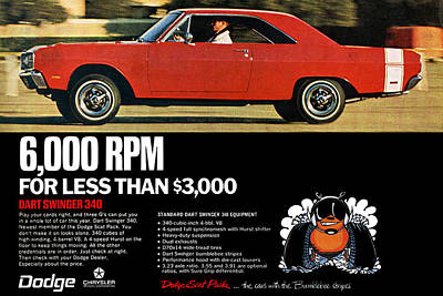 Motown Digital Art - 1969 Dodge Dart Swinger 340 by Digital Repro Depot