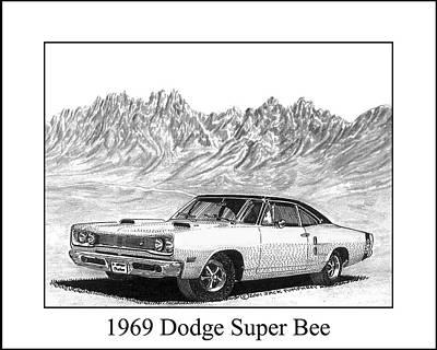 Super Cars Drawing - 1969 Dodge Super Bee by Jack Pumphrey