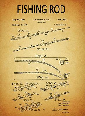 Drawing - 1969 Fishing Rod Patent by Dan Sproul