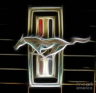 1969 Ford Mustang Emblem - Fantasy Art Print by Paul Ward
