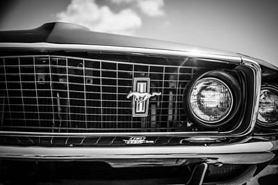 Photograph - 1969 Ford Mustang Grille Emblem -0129bw by Jill Reger