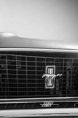 Photograph - 1969 Ford Mustang Grille Emblem -0133bw by Jill Reger