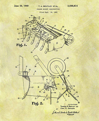 1969 Mixed Media - 1969 Grader Bucket Patent by Dan Sproul