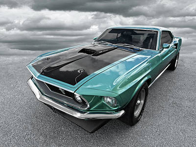 1969 Green 428 Mach 1 Cobra Jet Ford Mustang Art Print