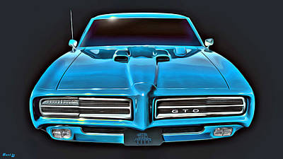Muscle Car Painting - 1969 Gto by Little Bunny Sunshine