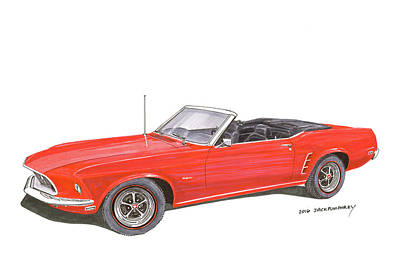 Painting - 1969 Mustang Convertible by Jack Pumphrey