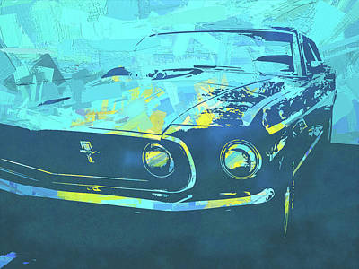 Digital Art - 1969 Mustang Mach 1 Blue Pop by David King