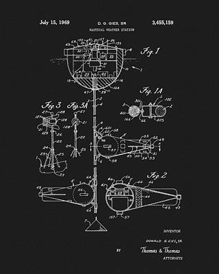 1969 Mixed Media - 1969 Nautical Weather Station Patent by Dan Sproul