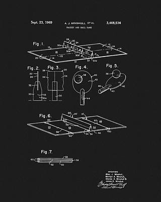 Ping Pong Wall Art - Drawing - 1969 Ping Pong Table Patent by Dan Sproul