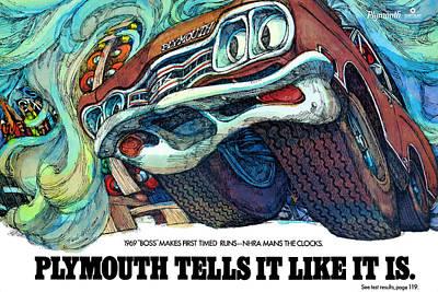 Roadrunner Digital Art - 1969 Plymouth Gtx - Plymouth Tells It Like It Is by Digital Repro Depot