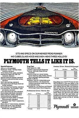 Roadrunner Digital Art - 1969 Plymouth Road Runner 440 by Digital Repro Depot