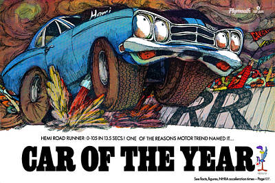 1969 Plymouth Road Runner - Car Of The Year Art Print by Digital Repro Depot