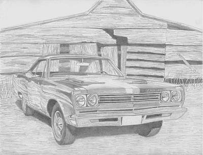 Roadrunner Drawing - 1969 Plymouth Roadrunner Muscle Car Art Print by Stephen Rooks