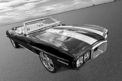 Photograph - 1969 Pontiac Firebird Convertible In Black And White by Gill Billington