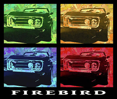 Digital Art - 1969 Pontiac Firebird Quad Title by David King