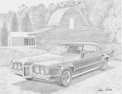 Pontiac Drawing - 1969 Pontiac Grand Prix Sj Classic Car Art Print by Stephen Rooks