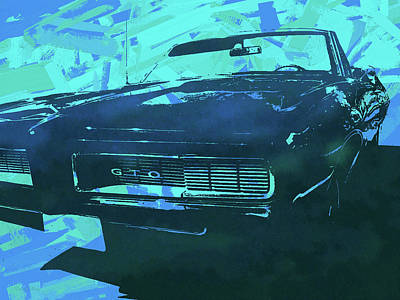 Digital Art - 1969 Pontiac Gto Convertible Pop Blue by David King