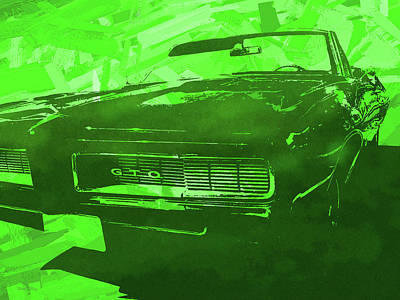Digital Art - 1969 Pontiac Gto Convertible Pop Green by David King