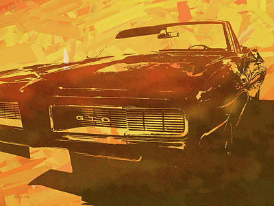 Digital Art - 1969 Pontiac Gto Convertible Pop Orange by David King