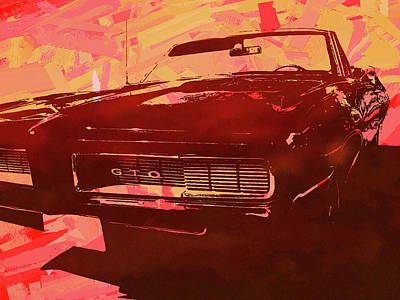 Digital Art - 1969 Pontiac Gto Convertible Pop Red by David King
