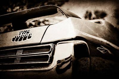 Vintage Pontiac Photograph - 1969 Pontiac Gto Judge Tail Light Emblem -0285s by Jill Reger