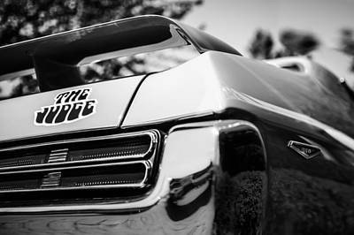 1969 Photograph - 1969 Pontiac Gto Judge Taillight Emblem -0285bw by Jill Reger