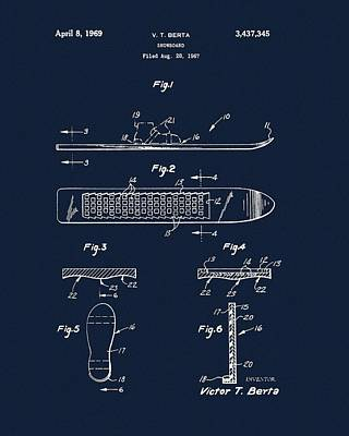 Drawing - 1969 Snowboard Patent Navy Blue by Dan Sproul