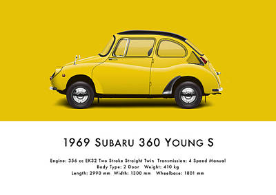 1969 Subaru 360 Young S - Yellow Art Print