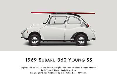 1969 Digital Art - 1969 Subaru 360 Young Ss - Creme by Ed Jackson