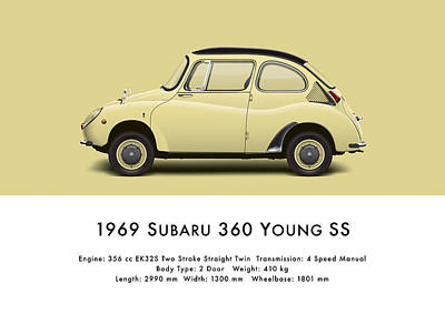 1969 Subaru 360 Young Ss - Light Yellow Art Print