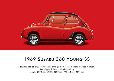 1969 Subaru 360 Young Ss - Red Art Print