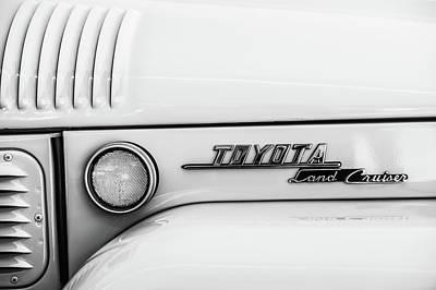 Photograph - 1969 Toyota Fj-40 Land Cruiser Emblem -0441bw by Jill Reger