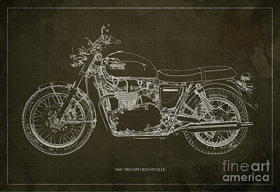 Bike Drawing - 1969 Triumph Bonneville Blueprint Brown Background by Pablo Franchi