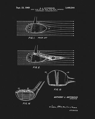 Drawing - 1969 Wood Golf Club Patent by Dan Sproul